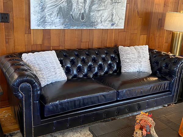 """Kingsbridge Sofa, 96""""W X 42""""D X 32""""H, in Brompton Black and Blue with 2 seat cushions, #2 Espresso Feet with a Tufted Front Rail, Old Gold nails and Ultracel Spring Down cushions."""